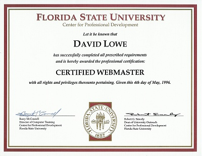 First Webmaster Certification
